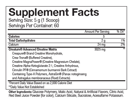 Beast Sports Nutrition Creature Powder Nutrition Label