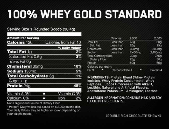 Optimum Gold Standard 100 Whey Protein Nutrition Label
