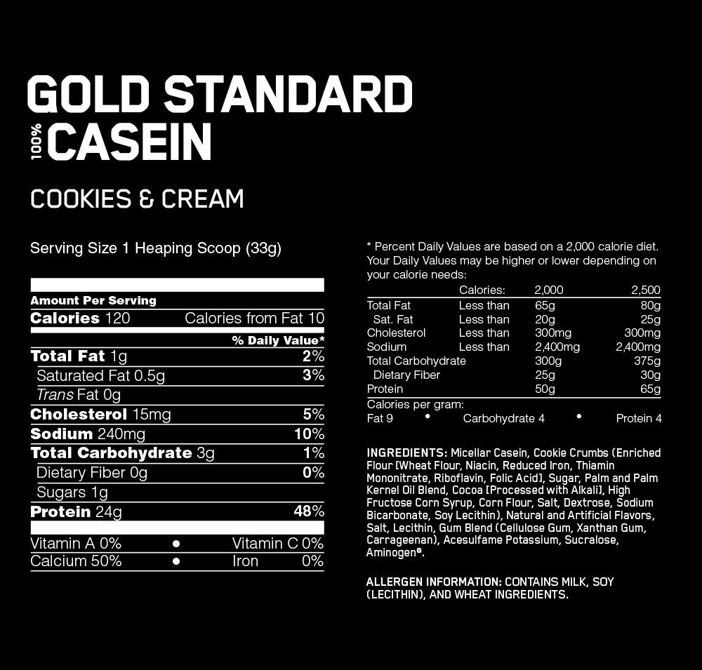 Optimum Nutrition Gold Standard 100% Casein Protein nutritional information
